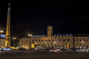 Обои Россия Санкт-Петербург Дома Памятники Ночь Уличные фонари город