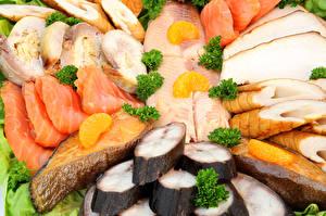 Картинка Морепродукты Рыба Нарезанные продукты Еда