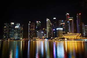 Обои Сингапур Небоскребы Дома Мегаполис Ночь