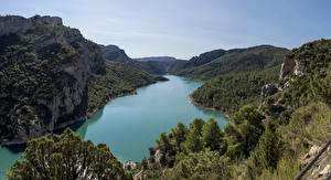 Фото Испания Горы Реки Леса Catalonia Природа