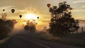 Фотография Рассвет и закат Дороги Аэростат Деревьев Туман Природа