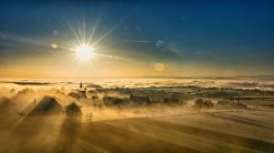 Фото Рассветы и закаты Пейзаж Небо Солнце Деревня Туман Природа