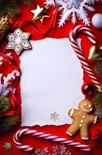 Фото Сладости Печенье Рождество Шаблон поздравительной открытки Дизайн Снежинки