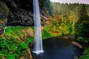 Картинки США Осень Водопады Леса Скала Oregon Природа