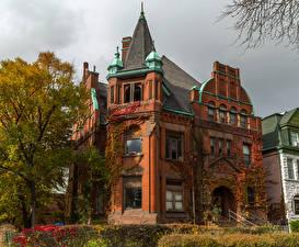 Картинки Штаты Дома Осень Чикаго город Особняк Дизайн Города