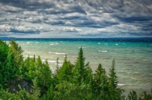 Фотографии Штаты Пейзаж Реки Волны Небо Мичиган Деревьев Облачно Northport Природа