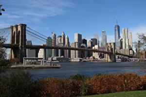Обои Штаты Небоскребы Мост Нью-Йорк Мегаполиса Brooklyn Города