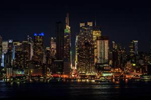 Фотографии США Небоскребы Манхэттен Нью-Йорк Ночь Мегаполис
