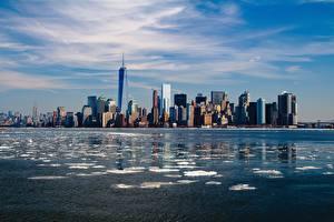 Фото США Небоскребы Нью-Йорк Манхэттен Мегаполис
