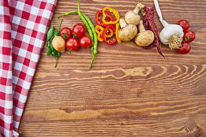 Картинка Овощи Томаты Перец Чеснок Грибы Пища