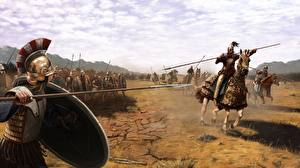Картинки Воины Лошади Копья Фантастика