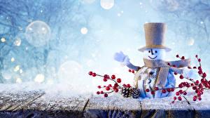 Картинки Зимние Снеговик Шляпы Ветки Шишка Шарфом Снеге Природа
