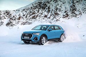 Фотографии Ауди Голубой Снег Металлик 2018 Q3 quattro S line Worldwide Автомобили