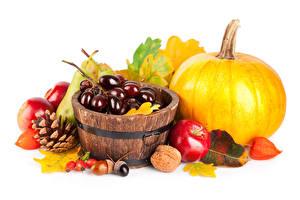 Обои Осень Тыква Виноград Яблоки Орехи Белым фоном Шишки Листья Пища