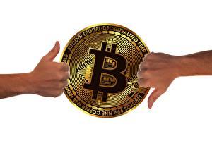 Фотография Bitcoin Деньги Пальцы Руки Белый фон