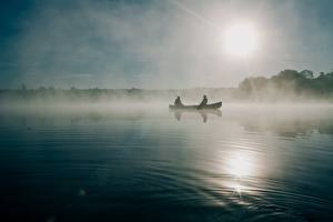 Обои Лодки Утро Ловля рыбы Тумана Природа