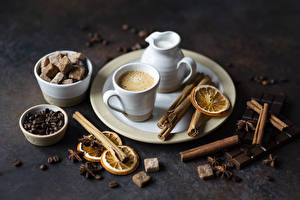 Фотография Капучино Корица Кофе Бадьян звезда аниса Шоколад Чашка Кувшин Зерна Сахар Пища