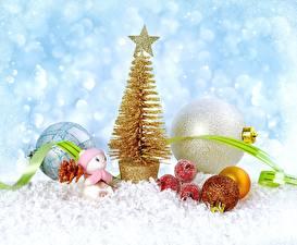 Фото Новый год Шарики Звездочки Ленточка Снеговики