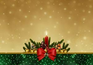 Фотографии Рождество Бантик Кукла Шар Шаблон поздравительной открытки