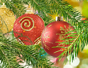 Обои Новый год Ветки Шарики Красный