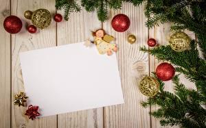 Фотография Рождество Ветвь Шарики Лист бумаги Доски Шаблон поздравительной открытки
