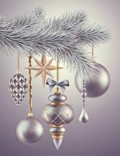 Фотография Рождество Ветвь Шар Серебристый