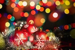 Обои Рождество Ветвь Шар Снежинки