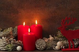 Картинки Рождество Свечи Олени Шишки Шар