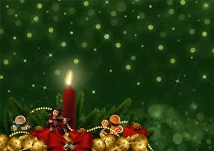 Картинки Новый год Свечи Пламя Шар Подарки