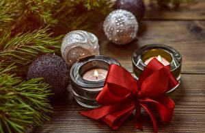 Фото Рождество Свечи Пламя Бантик Шар
