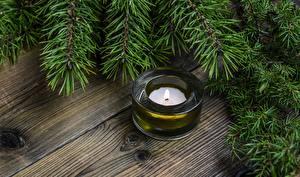 Фотография Новый год Свечи Огонь Ветвь Доски