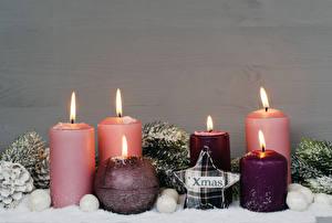 Картинка Новый год Свечи Пламя Звездочки