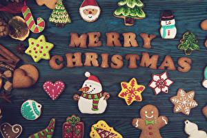 Фото Рождество Печенье Английский Дизайн Снеговики Сердечко Санта-Клаус Снежинки Пища