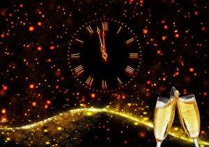 Фото Новый год Праздники Шампанское Часы Циферблат Бокалы