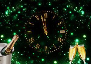 Фотография Новый год Праздники Игристое вино Часы Циферблат Бокал