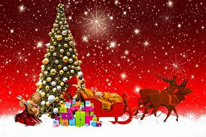 Картинки Новый год Праздники Олени Подарки Санта-Клаус Санях Елка