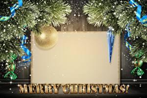 Картинка Рождество Лента Шарики Ветвь Английский Шаблон поздравительной открытки