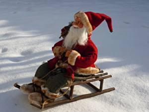 Обои Рождество Снег Санта-Клаус Санки Шапки