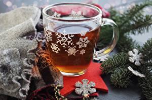 Фото Новый год Чай Снежинки Кружка