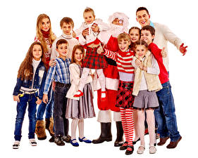 Фотография Новый год Белый фон Девочки Мальчики Санта-Клаус Счастье Ребёнок