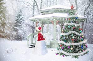 Обои Рождество Зимние Снег Новогодняя ёлка