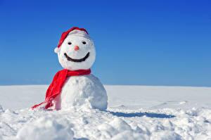 Фотографии Новый год Зима Снег Снеговики Шарф Природа