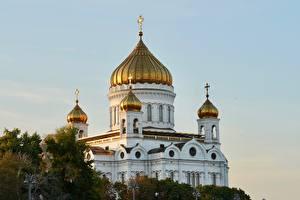 Картинки Церковь Храмы Россия Москва Купола Cathedral Of Christ The Saviour