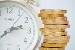 Обои Часы Циферблат Деньги Монеты Вблизи