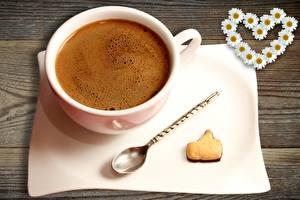 Картинка Кофе Печенье Чашка Сердечко Еда