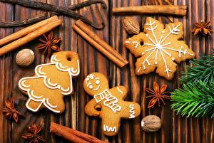Обои Печенье Бадьян звезда аниса Корица Орехи Новый год Доски Дизайн Снежинки Елка