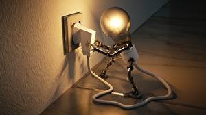 Картинка Креатив Лампочка Электрический провод Робот