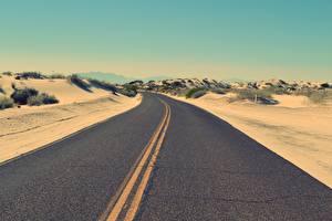 Картинки Пустыни Дороги Асфальта Горизонт Природа