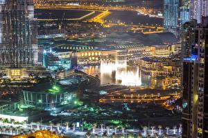 Картинки Объединённые Арабские Эмираты Дубай Здания Мегаполис Ночные
