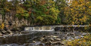 Обои Англия Парки Осенние Водопады Камень Ветвь HDRI Richmond Природа